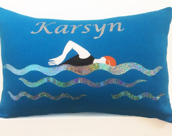 Personalized swimming pillow; gifts for swimmers