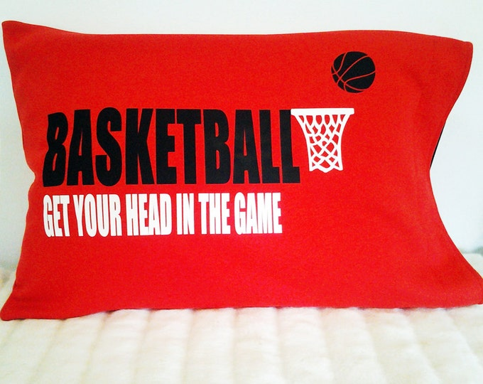 basketball pillowcase; basketball decor; gift for basketball player