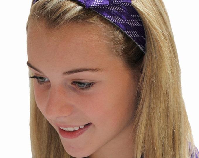 Purple hockey lace headband; Stickheads headbands