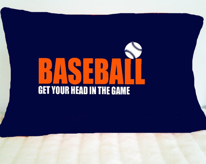 Pillowcase for baseball player; baseball themed bedding; baseball team gift