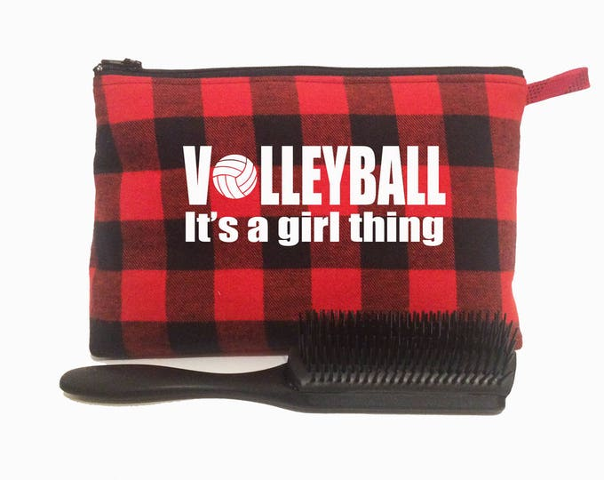Volleyball gift for girl; make up bag; toiletry bag volleyball team gift