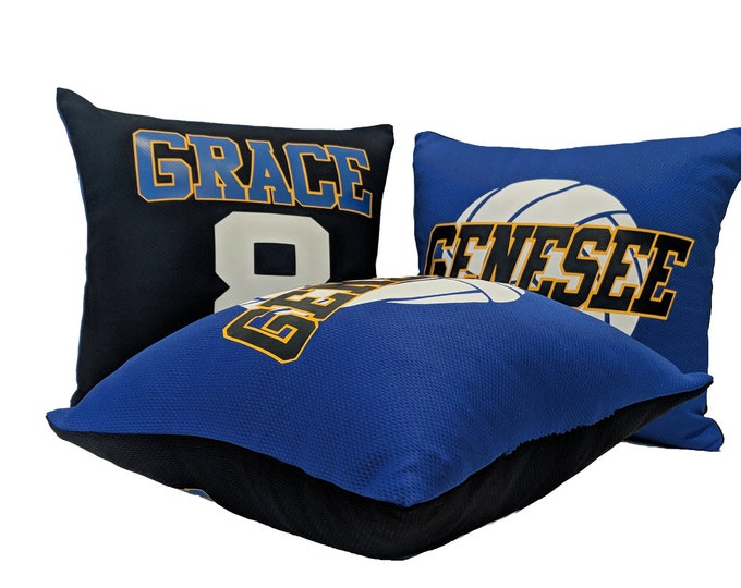 Personalized two-tone volleyball team pillow,  gift for volleyball girl or boy