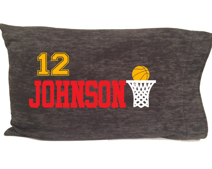 Personalized pillowcase for basketball team player; gift for baller girl and boy; hoops tournament gear