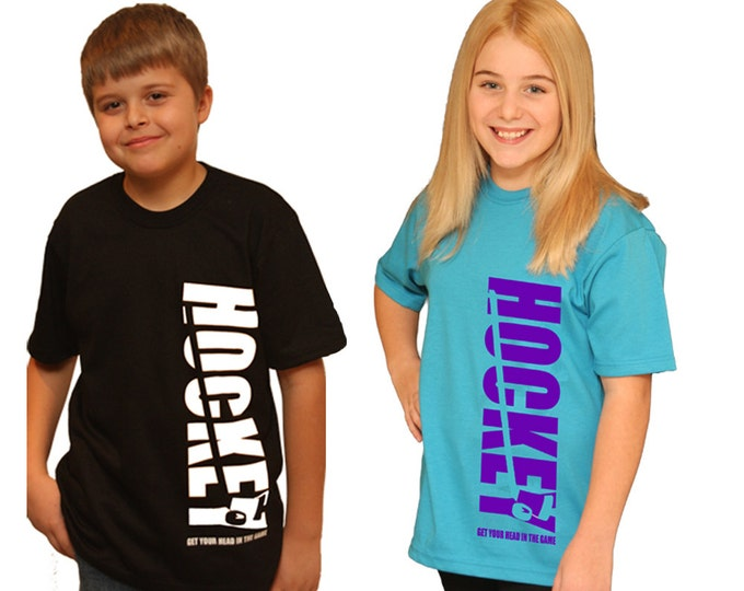 Personalized hockey shirt for girls or boys hockey birthday gift; Fun hockey tee for fans or kids who play hockey