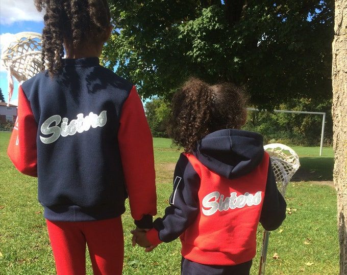 Navy blue personalized varsity jackets for kids and adults