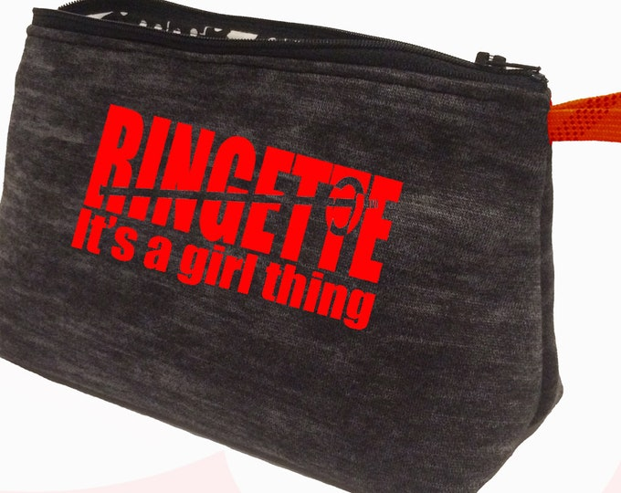 Cosmetics and toiletry bag for ringette team gift, stocking stuffer for teen girl, ringette girl personalized toiletry case