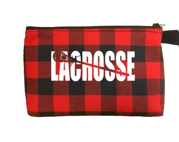 Lacrosse toiletry bag; personalized lacrosse team gifts; cosmetic bag for lax girl