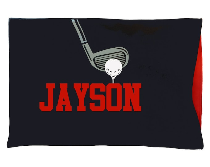 Golf gift for kids, teenagers, men and women; personalized golfer pillowcase;
