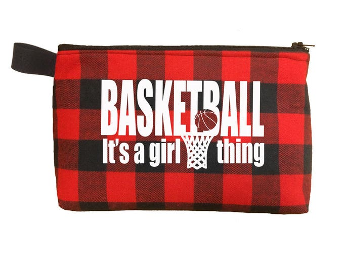 Gift for girl basketball players; makeup bag for teens; cosmetic and toiletry case