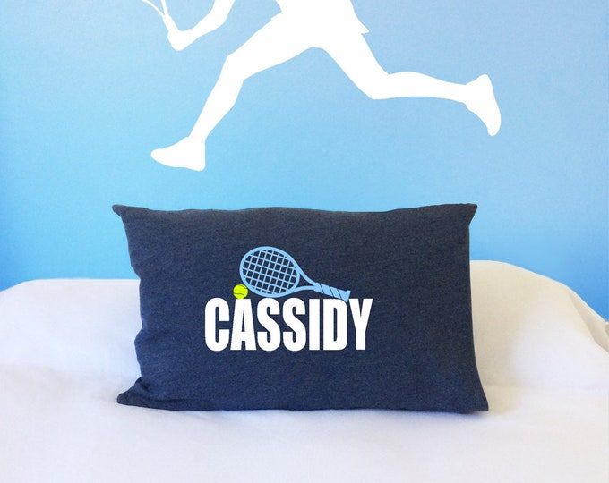 Personalized tennis player gift; pillow case for sports theme bedroom