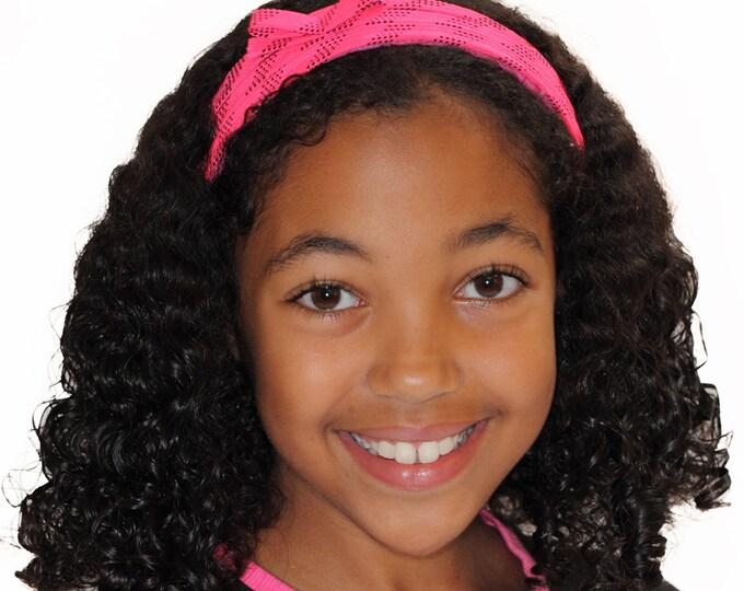 Pink hockey lace headband; pink non slip hairband and hockey hair accessory