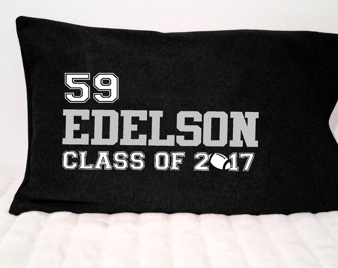 Graduation gift for football player;  personalized soccer grad pillowcase; high school basketball gift; dorm room decor