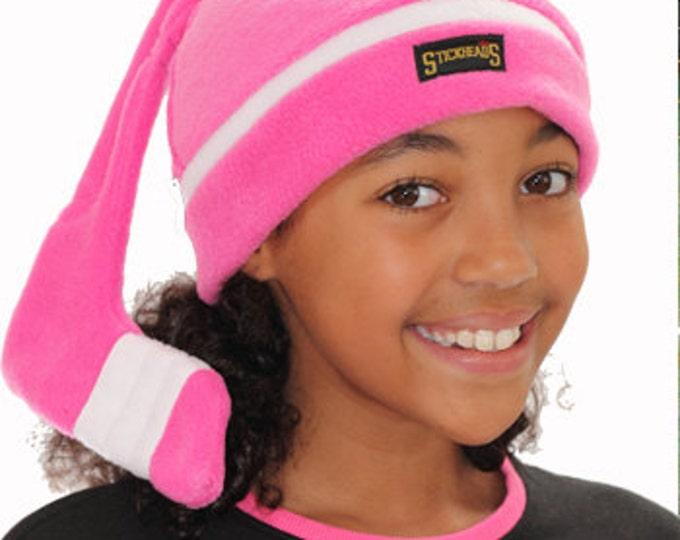 Pink winter hat, girls hockey hat;