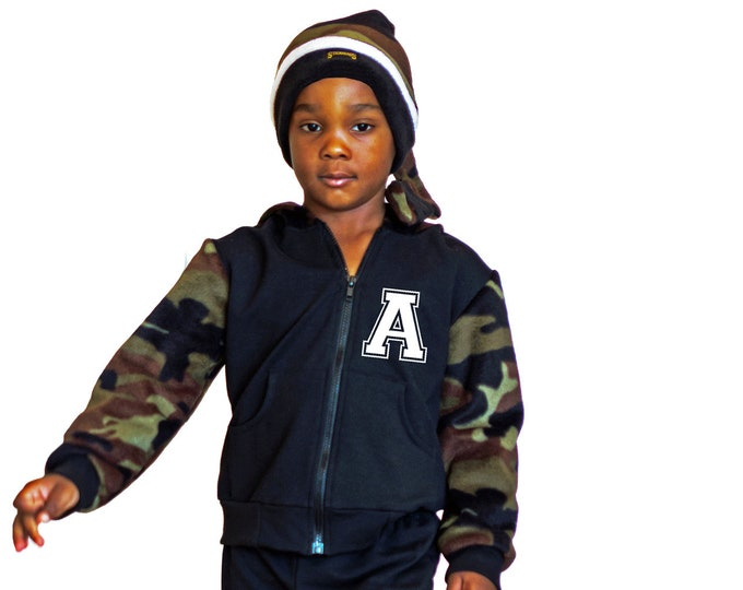 Toddler boy varsity jacket in camo and black; zip up hoody birthday boy or girl outfit
