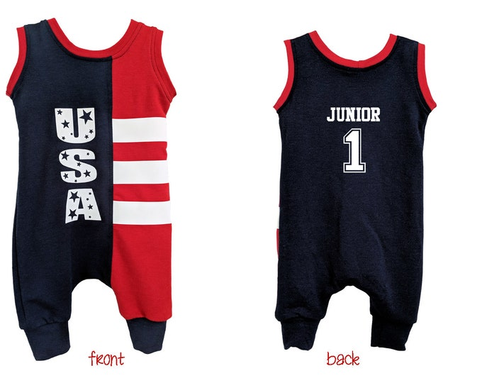 July 4th personalized romper, Independence Day outfit for baby and toddler; bamboo one piece