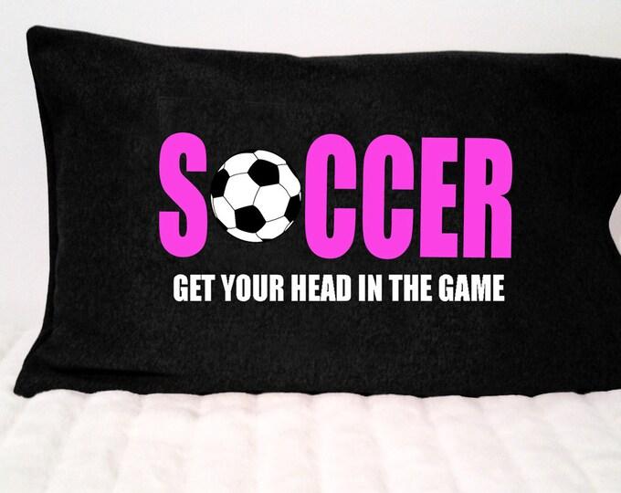 Soccer pillowcase, soccer decor; personalized soccer gift, soccer boy and girl; unique soccer team gift, soccer bedroom