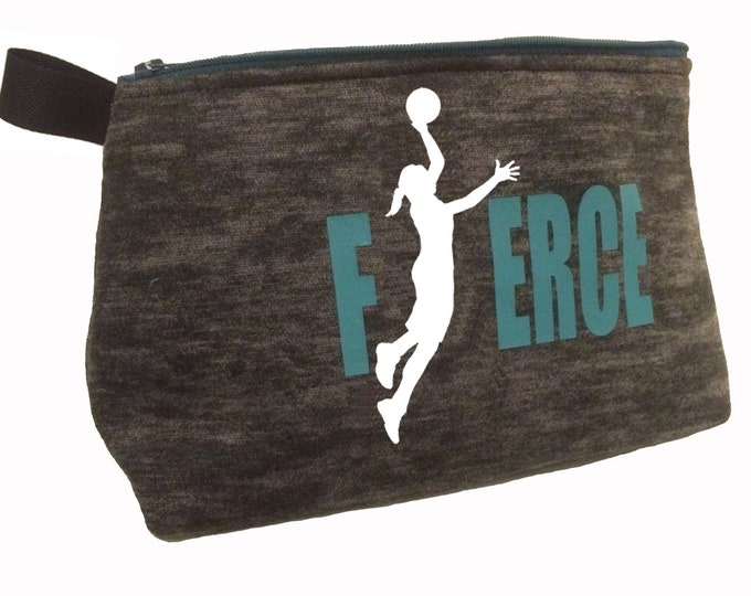 Fierce make up and toiletry bag basketball team gift, personalized pencil case for girl