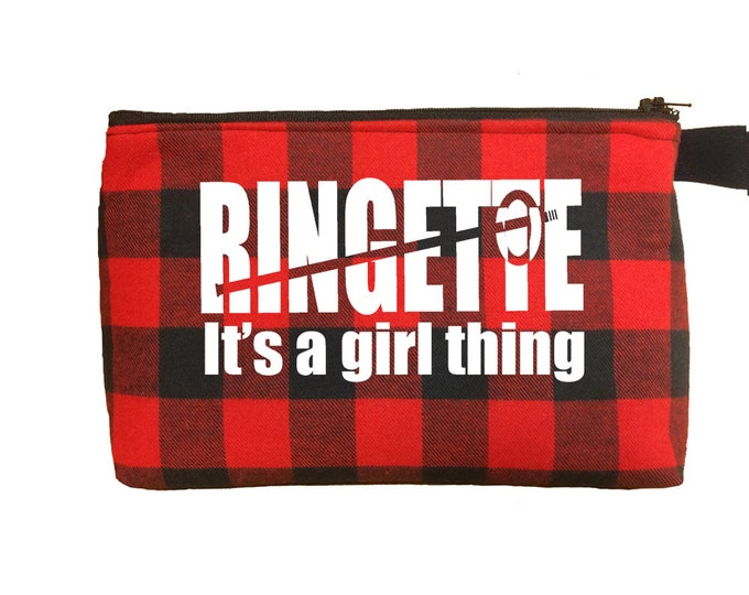 Ringette team gift; stocking stuffer; personalized ringette bag; make up bag