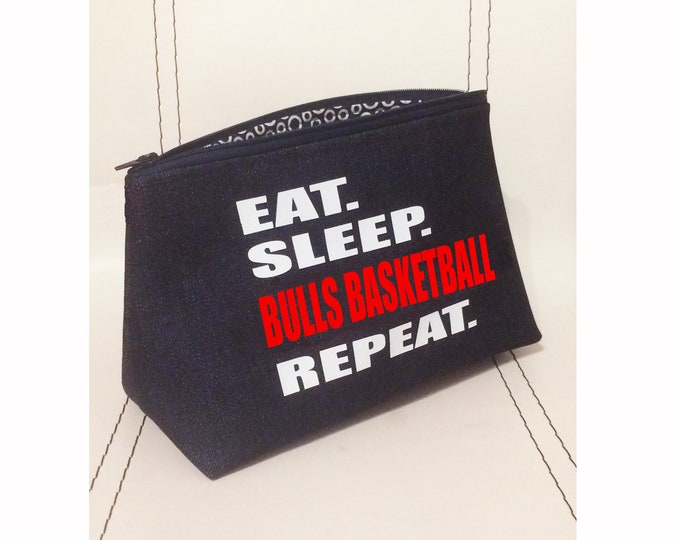 Personalized basketball team gift; baller bag; player banquet award; denim cosmetic and toiletry bag