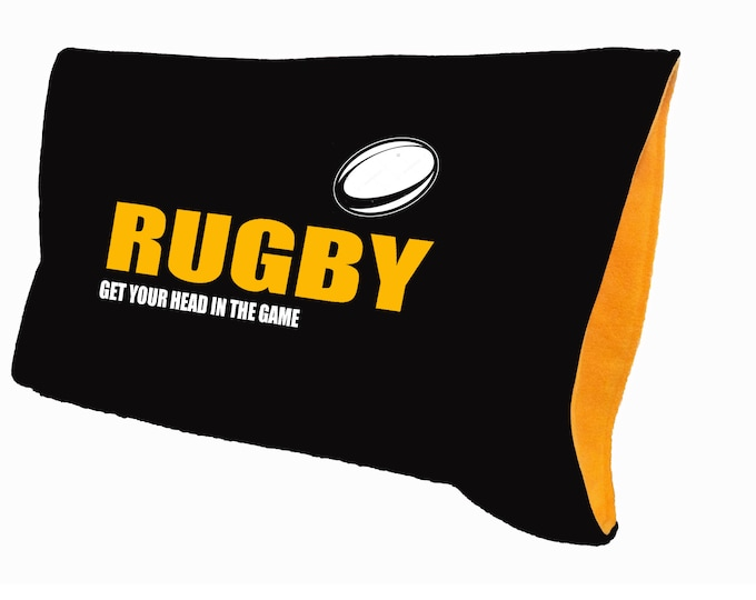 pillowcase for rugby player gift; personalized sports team bedding
