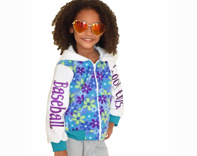 Girls' baseball style jacket with green and purple flowers