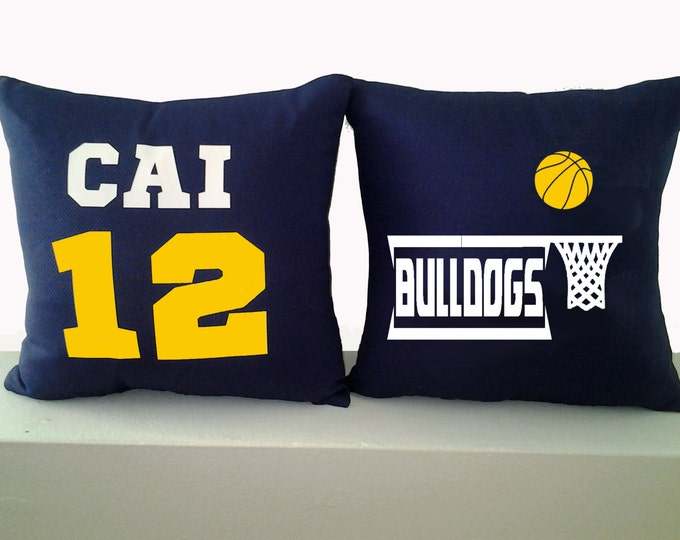 Personalized basketball pillows for team gifts, girls and boys; sports decor; throw cushion for hoops player