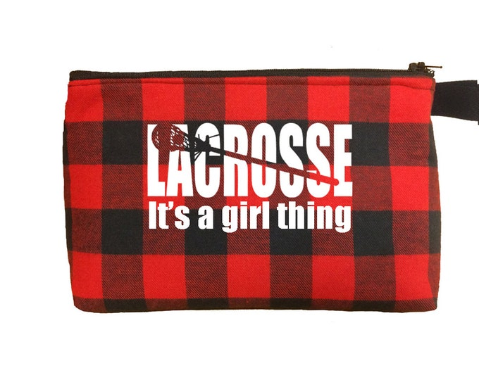 Lacrosse girl make up and toiletry bag or pencil case