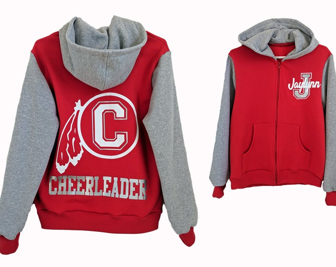 Red personalized zip up hoodie or varsity jacket for toddler, youth and adults
