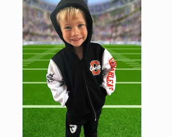 Personalized letterman jacket for kids; youth cheer jackets with hood or collar