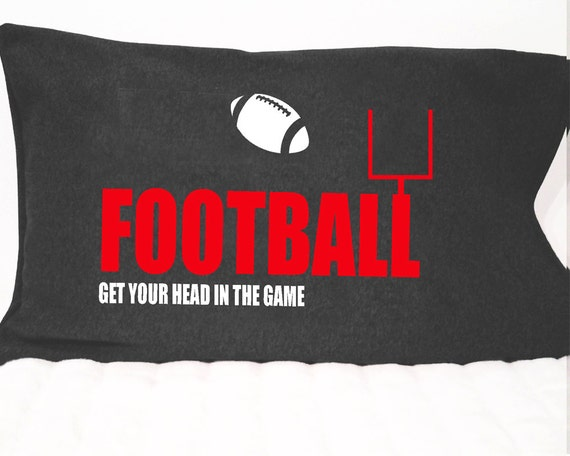 Pillowcase for boys football themed bedroom; gift for football player,  pillow cover for sports camp and sleepovers