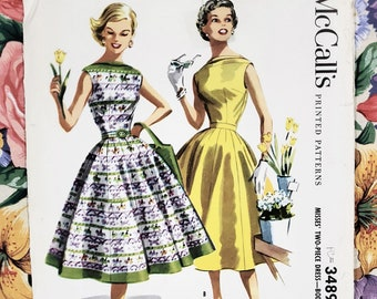 50s Dress Pattern, McCall's 3489, Size 14, 50's Dress with Sabrina Neckline and Full Skirt