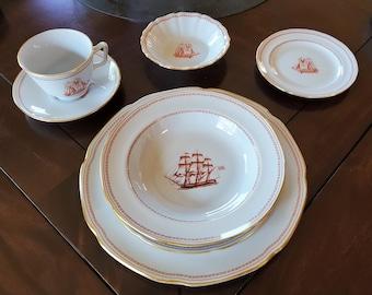 Red Tradewinds Small Bowl Nautical Bowl Fluted Dessert Bowl Vintage Spode Trade Winds Dessert Bowl Spode England Tall Ship Brig 1820