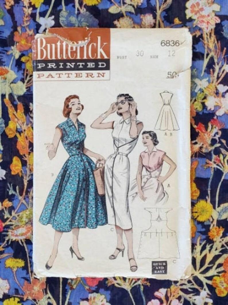 Vintage Butterick Vintage Dress Pattern Sewing Pattern Size 12 50s Wrap Dress Pattern Butterick 6836