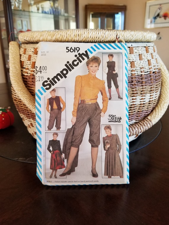 discount coupon good convenience goods 80s Knickers Pattern, UNCUT, Knickers Blouse Jacket, Simplicity 5619. Size  10 Sewing Pattern, Vintage Skirt Blouse Jacket Pattern