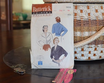 """Butterick 5824 - Single Button Smart Tailored Blouse Sewing Pattern Size 18, Bust 36"""",  1951, 6  Pieces,  1950's"""