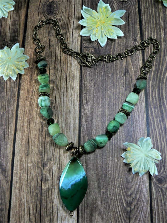 Gift for Her Druzy Necklace Agate Necklace Green Agate Necklace Green Banded Agate Necklace Green /& Black Agate Duzy Statement Necklace