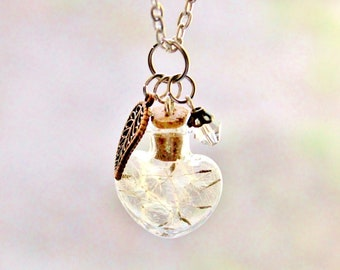 Unique Gift for Women  Unique Jewelry Unique Necklace Dandelion Necklace Terrarium Necklace Spring Prom Wish Nature Jewelry Heart Crystal