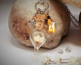 Fox Necklace Little Fox Gift Unique Gift for Women Prom Nature Jewelry Terrarium Necklace Crystal Ivory Flower Woodland Forest Animal