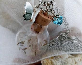 Unique Gift Butterfly Necklace Unique Jewelry for Women Terrarium Necklace Dandelion Necklace Summer Crystal Necklace Glass Bottle Necklace