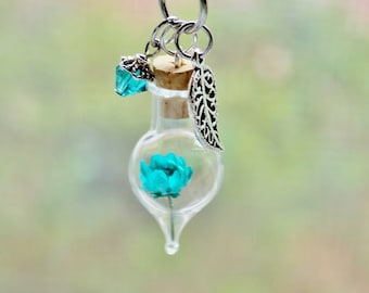 Turquoise Jewelry Unique Gift for Women Terrarium Necklace Dried Flower Necklace December Birthstone Floral Necklace Glass Bottle Necklace