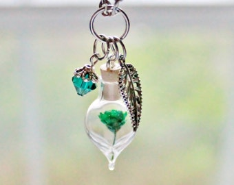 Emerald Jewelry May Birthstone Unique Gift for Women Spring Terrarium Necklace Garden Jewelry Floral Necklace Nature Jewelry Glass Bottle