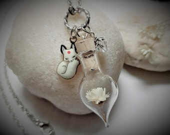 Fox Necklace Fox Gift Unique Gift for Women Spring Prom Nature Jewelry Terrarium Necklace Crystal Ivory Flower Glass Bottle Necklace Floral