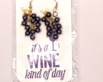Wine Grape Cluster Earrings Gold Plated Ear Wires