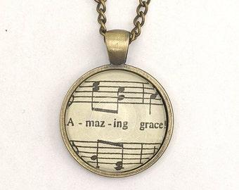 Amazing grace / sheet music - glass pendant necklace