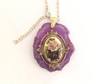 Purple Agate Pendant - pendant necklace