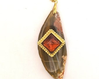 Agate Slice with Amber Pendant - pendant necklace