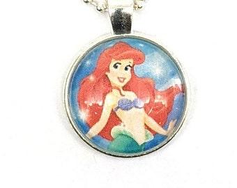 Little Mermaid - 'Ariel'  - glass pendant necklace