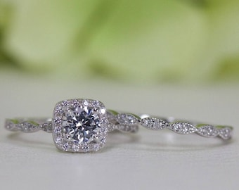 0.50 Ct. Cushion Halo Fine Quality Cubic Zirconia Engagement Ring Set In Sterling Silver, Engagement Ring, Wedding Ring Set   001