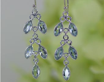 Beautiful Natural Blue Topaz Faceted Marquise Dangle Earrings In Sterling Silver, Anniversary Gift, Birthday Gift, Valentine Gift