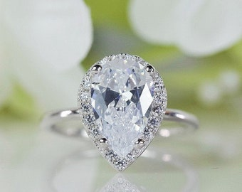 Sterling Silver 1.75ct Pear Shape Colorless CZ Solitaire Engagement Ring